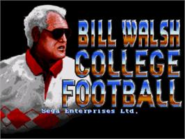 Title screen of Bill Walsh College Football on the Sega Genesis.