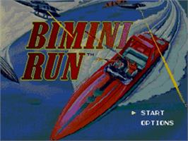 Title screen of Bimini Run on the Sega Genesis.