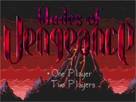 Title screen of Blades of Vengeance on the Sega Genesis.