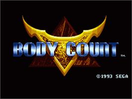 Title screen of Body Count on the Sega Genesis.