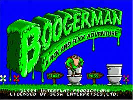 Title screen of Boogerman: A Pick and Flick Adventure on the Sega Genesis.