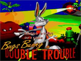 Title screen of Bugs Bunny in Double Trouble on the Sega Genesis.