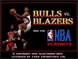 Title screen of Bulls vs. Blazers and the NBA Playoffs on the Sega Genesis.