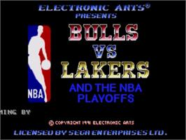Title screen of Bulls vs. Lakers and the NBA Playoffs on the Sega Genesis.