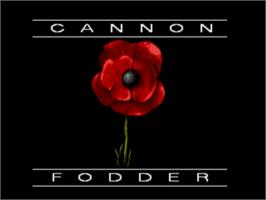Title screen of Cannon Fodder on the Sega Genesis.