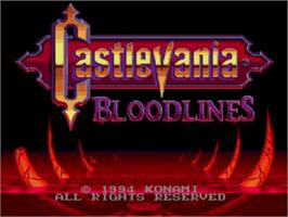 Title screen of Castlevania Bloodlines on the Sega Genesis.