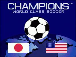Title screen of Champions World Class Soccer on the Sega Genesis.