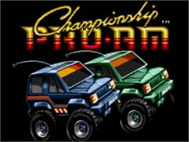 Title screen of Championship Pro-Am on the Sega Genesis.