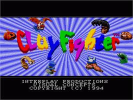 Title screen of Clay Fighter on the Sega Genesis.