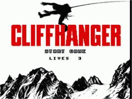 Title screen of Cliffhanger on the Sega Genesis.