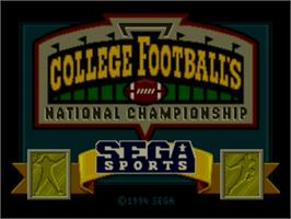 Title screen of College Football's National Championship on the Sega Genesis.