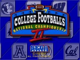 Title screen of College Football's National Championship II on the Sega Genesis.