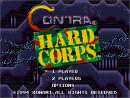 Title screen of Contra Hard Corps on the Sega Genesis.