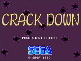 Title screen of Crack Down on the Sega Genesis.