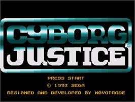 Title screen of Cyborg Justice on the Sega Genesis.