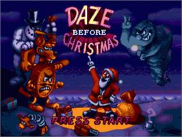 Title screen of Daze Before Christmas on the Sega Genesis.