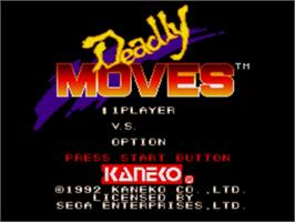 Title screen of Deadly Moves on the Sega Genesis.