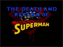 Title screen of Death and Return of Superman, The on the Sega Genesis.