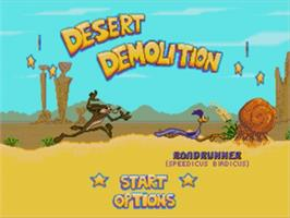 Title screen of Desert Demolition Starring Road Runner and  Wile E. Coyote on the Sega Genesis.