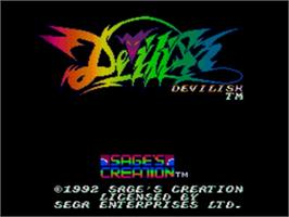 Title screen of Devilish on the Sega Genesis.