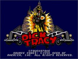 Title screen of Dick Tracy on the Sega Genesis.