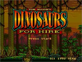 Title screen of Dinosaurs for Hire on the Sega Genesis.