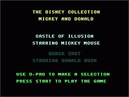 Title screen of Disney Collection: Castle of Illusion & Quack Shot on the Sega Genesis.