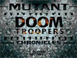 Title screen of Doom Troopers: Mutant Chronicles on the Sega Genesis.