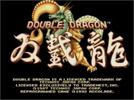 Title screen of Double Dragon on the Sega Genesis.