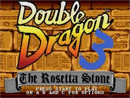Title screen of Double Dragon 3 - The Rosetta Stone on the Sega Genesis.