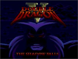 Title screen of Double Dragon V: The Shadow Falls on the Sega Genesis.