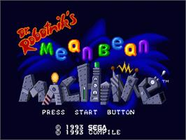 Title screen of Dr. Robotnik's Mean Bean Machine on the Sega Genesis.