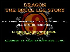 Title screen of Dragon: The Bruce Lee Story on the Sega Genesis.