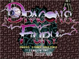 Title screen of Dragon's Fury on the Sega Genesis.