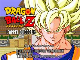Title screen of Dragonball Z: L'Appel Du Destin on the Sega Genesis.