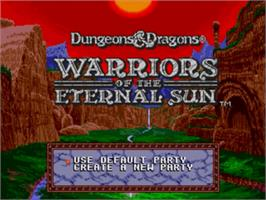 Title screen of Dungeons & Dragons: Warriors of the Eternal Sun on the Sega Genesis.