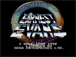 Title screen of Earnest Evans on the Sega Genesis.