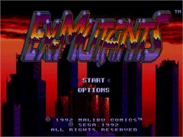 Title screen of Ex-Mutants on the Sega Genesis.