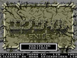 Title screen of Exile on the Sega Genesis.