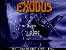 Title screen of Exodus: Journey to the Promised Land on the Sega Genesis.