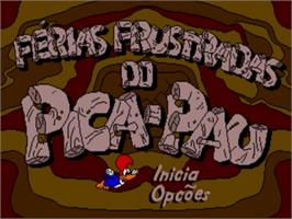 Title screen of Férias Frustradas do Pica-Pau on the Sega Genesis.