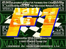 Title screen of F1 on the Sega Genesis.