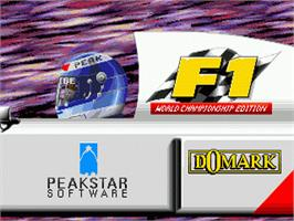 Title screen of F1 World Championship Edition on the Sega Genesis.
