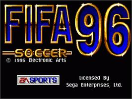 Title screen of FIFA 96 on the Sega Genesis.
