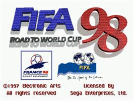 Title screen of FIFA 98: Road to World Cup on the Sega Genesis.