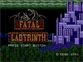 Title screen of Fatal Labyrinth on the Sega Genesis.