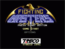 Title screen of Fighting Masters on the Sega Genesis.