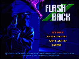 Title screen of Flashback on the Sega Genesis.