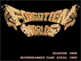 Title screen of Forgotten Worlds on the Sega Genesis.