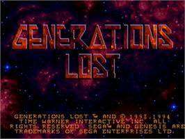 Title screen of Generations Lost on the Sega Genesis.